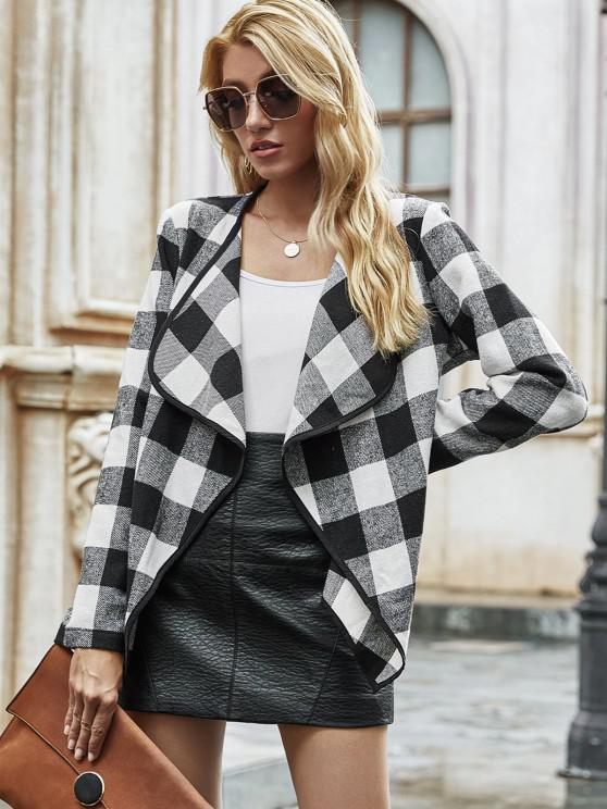 Open Front Wool Blend Plaid Coat - أسود S