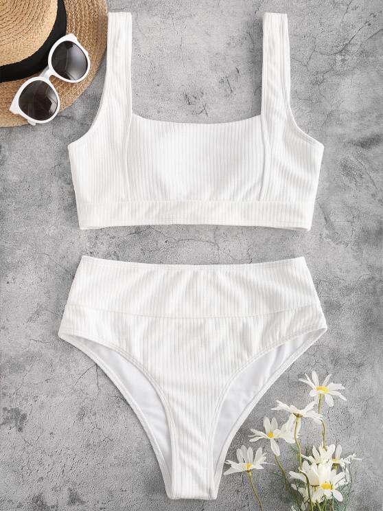 women ZAFUL Ribbed Knotted High Cut Tank Bikini Swimwear - WHITE L