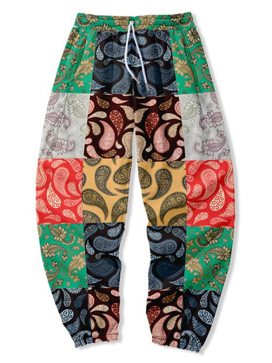 Paisley Floral Print Patch Beam Feet Pants - متعددة-A XS