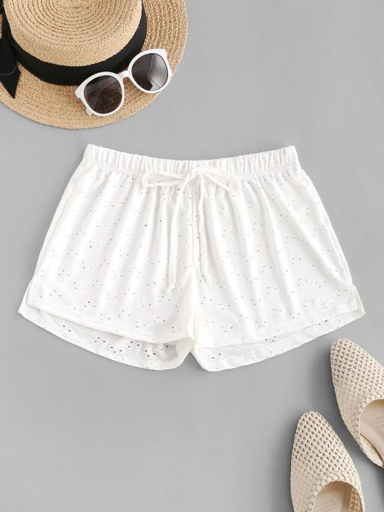 women Tie Waist Eyelet Cover-up Shorts - WHITE ONE SIZE