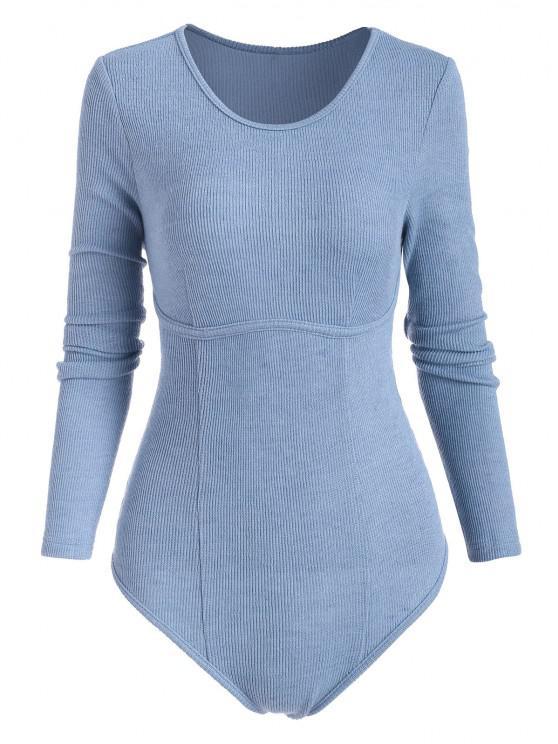 sale ZAFUL Knitted Underbust Design Bodysuit - BLUE M
