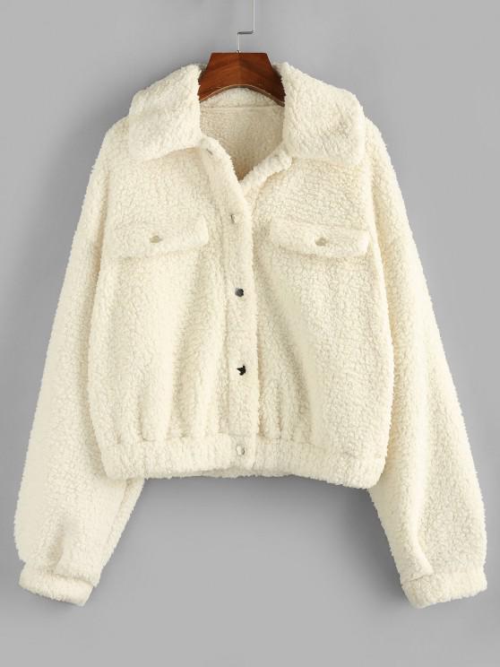 buy ZAFUL Faux Shearling Drop Shoulder Snap Button Teddy Coat - WHITE S
