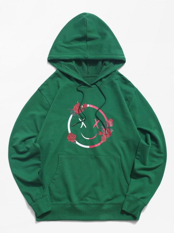 buy Funny Face Rose Graphic Hoodie - DEEP GREEN S