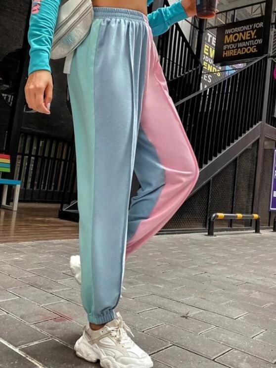 ladies High Waisted Colorblock Jogger Sweatpants - LIGHT BLUE L