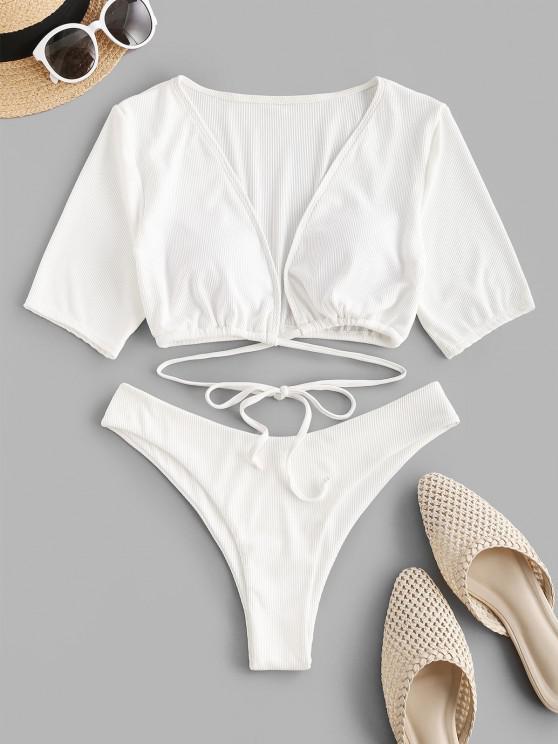 buy ZAFUL Ribbed Tie Two Piece Cropped T Shirt Swimwear - WHITE S
