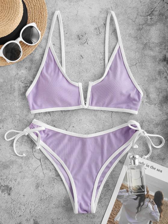 ZAFUL Contrast Binding Ribbed V-wired Bikini Swimwear - ضوء ارجواني L