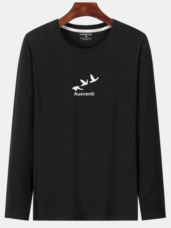 Langarm Vogel Grafik Druck T-Shirt - Schwarz XS