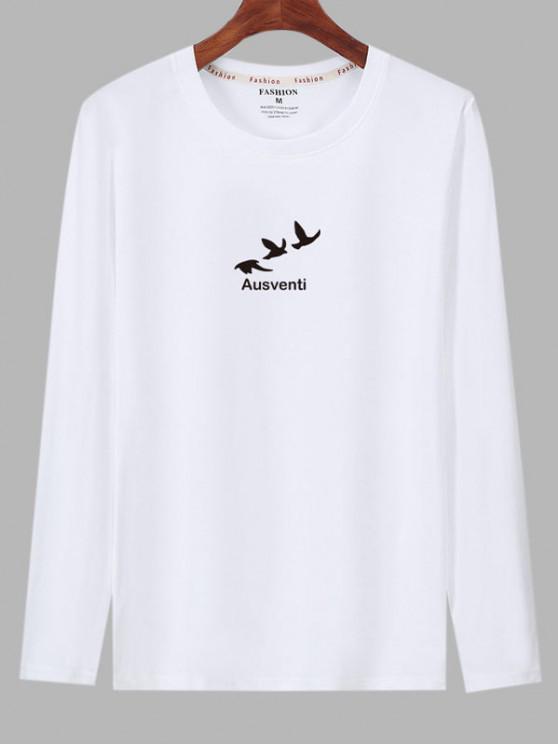 Long Sleeve Birds Graphic Print T-shirt - أبيض S
