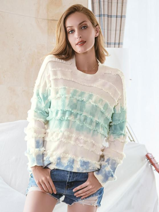 trendy Tie Dye Drop Shoulder Frayed Sweater - MULTI M