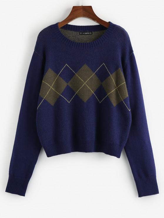 lady ZAFUL Argyle Loose Jumper Sweater - BLUE S
