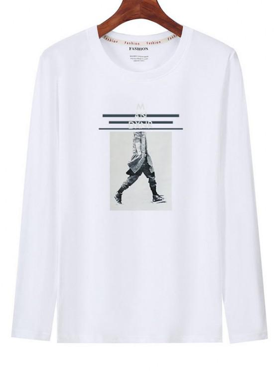 outfits Graphic Print Long Sleeves T-shirt - WHITE M