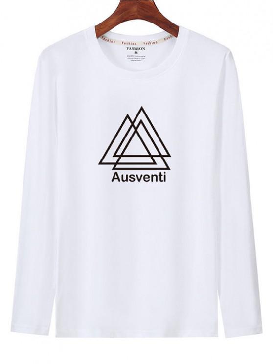 T-shirt Géométrique Graphique Imprimé à Manches Longues - Blanc S