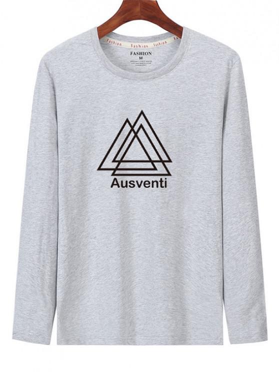T-shirt Géométrique Graphique Imprimé à Manches Longues - Gris Clair S