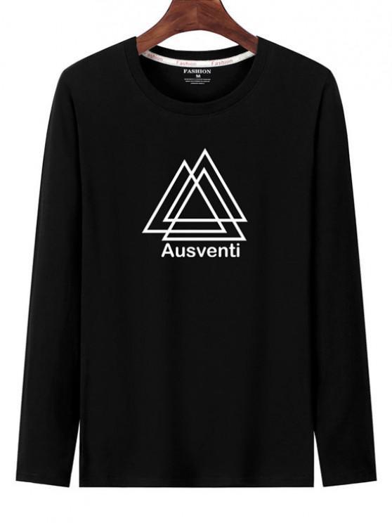T-shirt de Manga Comprida Estampado Geométrico - Preto S