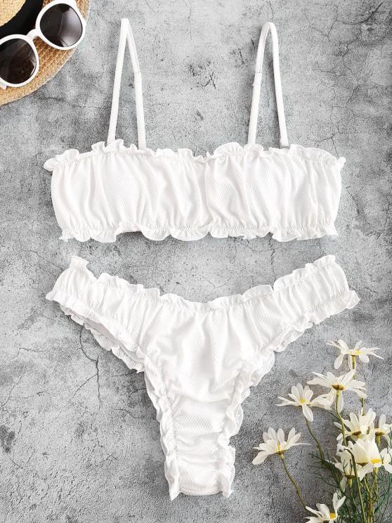 outfit ZAFUL Ruched Frilled Bandeau Bikini Swimwear - WHITE S