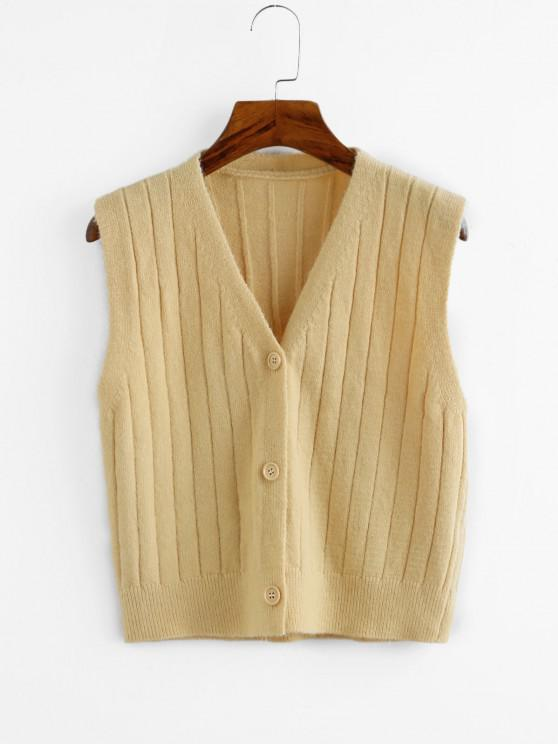 lady Button Up Plunging Sleeveless Cardigan - LIGHT YELLOW ONE SIZE