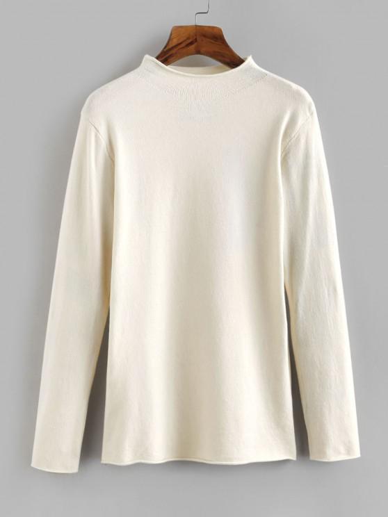 Stehkragen Jersey Pullover mit Gerolltem Saum - Weiß Eine Größe