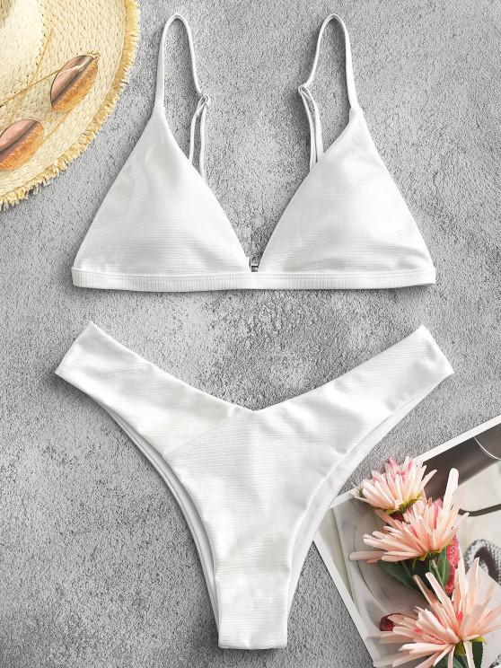 buy ZAFUL Glitter Disco Wet Look Bikini Swimwear - WHITE L