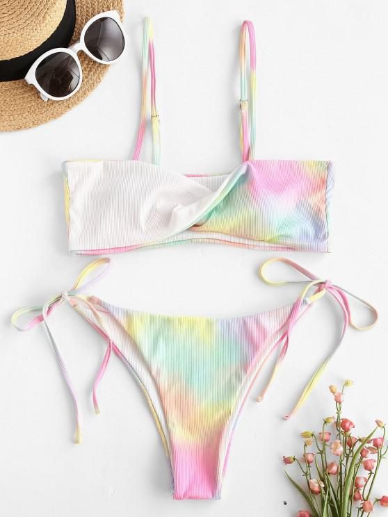 ZAFUL Krawattenfärbender Verdrehte Bikini Badebekleidung mit Bindeband - Weiß S