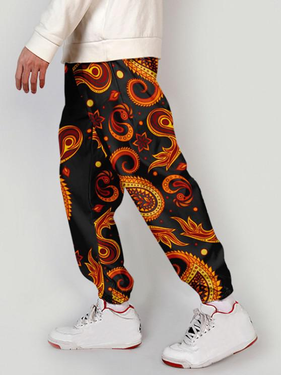 latest Paisley Floral Print Beam Feet Pants - BLOOD RED 2XL