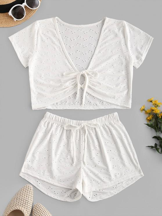 womens Eyelet Tie Plunge Two Piece Beach Shorts Set - WHITE ONE SIZE