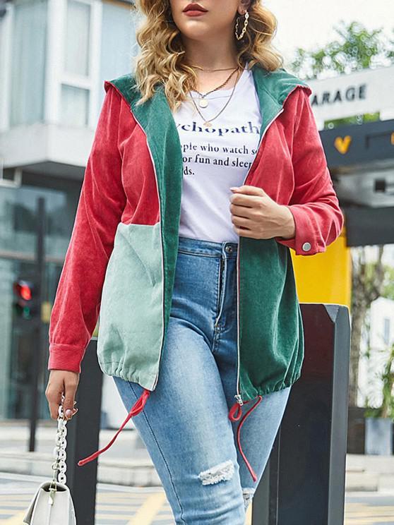 fashion Plus Size Corduroy Colorblock Hooded Zip Jacket - MULTI L