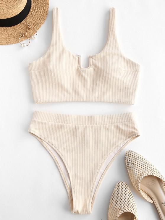 trendy ZAFUL Ribbed U-wired High Cut Tankini Swimwear - LIGHT COFFEE L