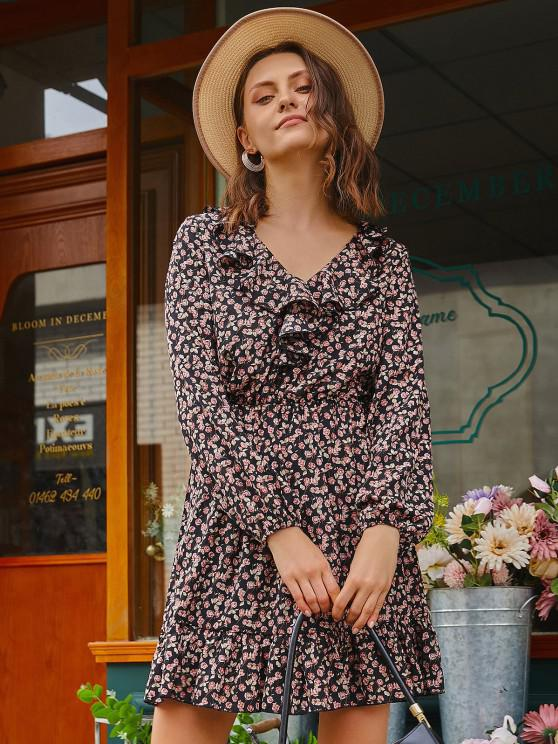 Floral Ruffles Long Sleeve Mini Dress - أسود M