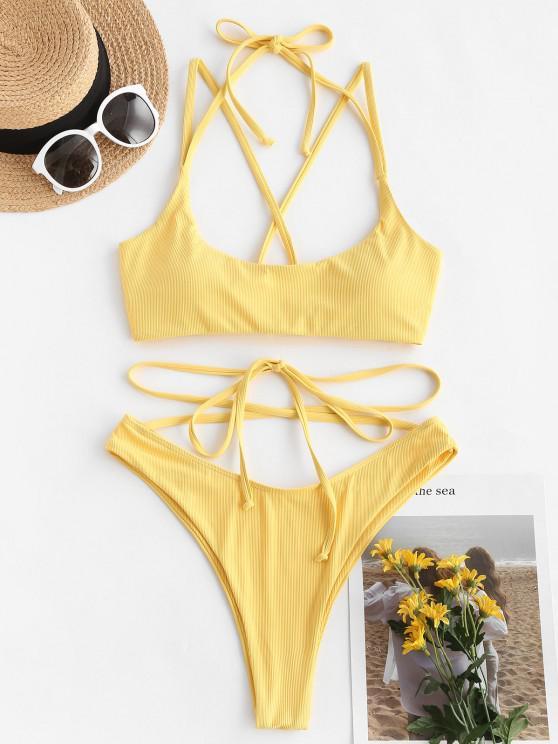 unique ZAFUL Ribbed Lace-up Cross High Cut Bikini Swimwear - YELLOW S