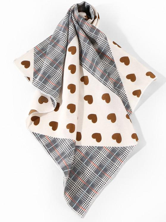 Plaid and Heart Print Square Satin Scarf - قهوة