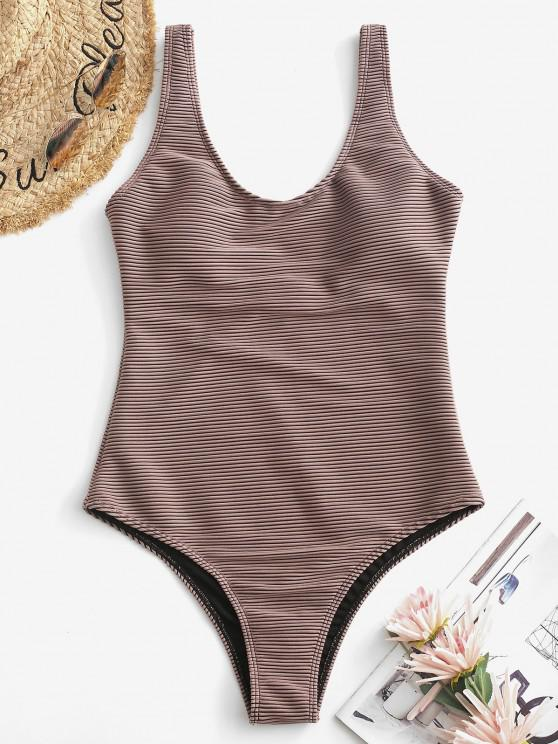 ladies ZAFUL Textured Ribbed Basic One-piece Swimsuit - DEEP COFFEE S