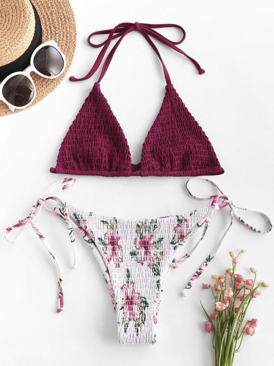 sale ZAFUL Halter Floral Tie Smocked String Bikini Swimwear - DEEP RED M