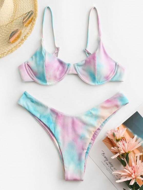 lady ZAFUL Tie Dye Ribbed Underwire High Leg Bikini Swimwear - MULTI S