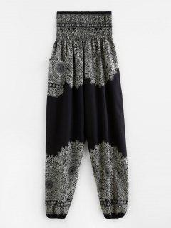Smocked Waist Pocket Print Beam Feet Pants - Black