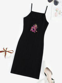 Ribbed Dragon Embroidered Oriental Bodycon Dress - Black M