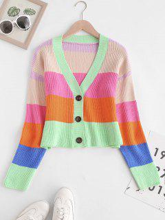 V Neck Colorblock Stripes Button Up Cardigan - Multi