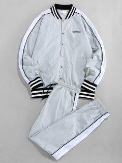 ZAFUL Striped Colorblock Raglan Sleeve Jacket And Pants - Multi M