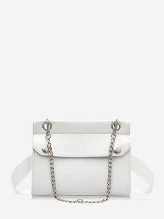 Chain Embellished Convertible Strap Mini Crossbody Bag - White