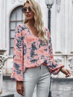 V Neck Tie Dye Lantern Sleeve Blouse - Light Pink S