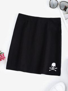 Halloween Skull Embroidered Mini Skirt - Black L
