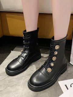 PU Leather Low Heel Button Ankle Boots - Black Eu 38