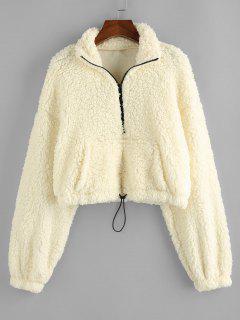 ZAFUL Drop Shoulder Quarter Zip Pocket Teddy Sweatshirt - Warm White Xl