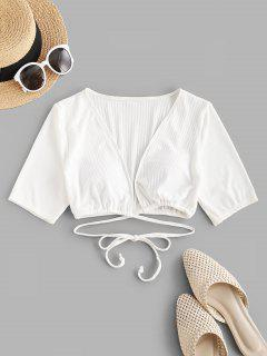 ZAFUL Ribbed Plunge Tie Cropped Swim Top - White L