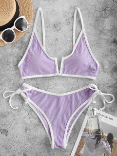 ZAFUL Contrast Binding Ribbed V-wired Bikini Swimwear - Light Purple L