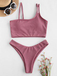 ZAFUL Ribbed Skew Collar High Cut Tankini Swimwear - Light Pink M