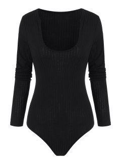 ZAFUL Ribbed U Neck Long Sleeve Bodysuit - Black S
