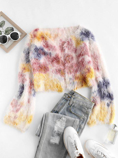 outfit Fuzzy Tie Dye Open Cropped Cardigan - MULTI ONE SIZE Mobile