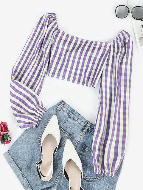 hot Tie Front Stripes Cropped Blouse - PURPLE L Mobile