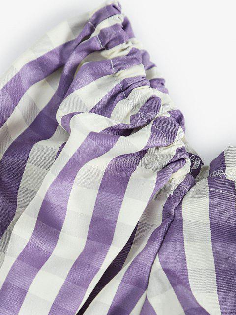 fancy Tie Front Stripes Cropped Blouse - PURPLE M Mobile