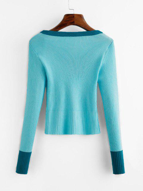 chic Crew Neck Embroidered Ribbed Knitwear - LIGHT BLUE ONE SIZE Mobile
